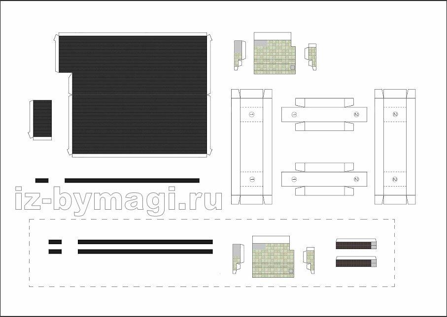 Схема для вырезания домика из бумаги №2