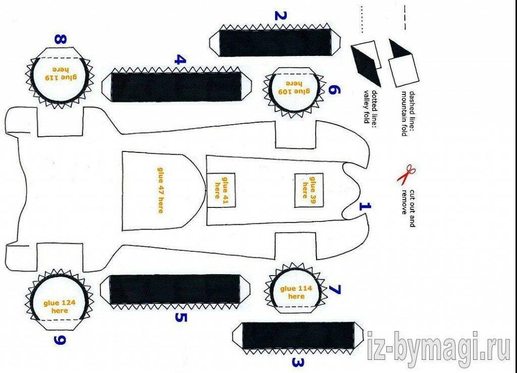 Как сделать Бэтмобиль из бумаги - Схема - развертка деталей Бэтмобиля из бумаги №1
