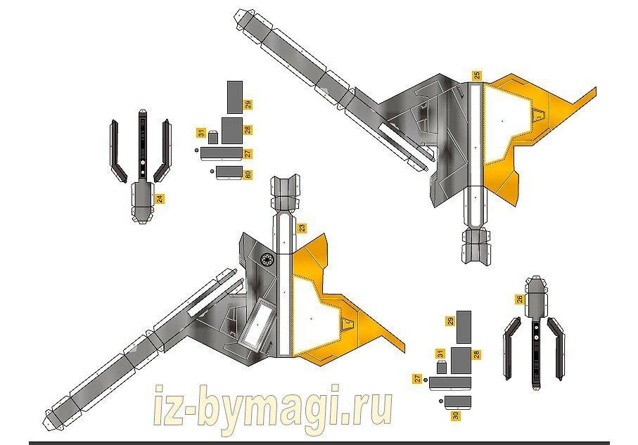 Схемы деталей космического корабля из бумаги - схемы №7