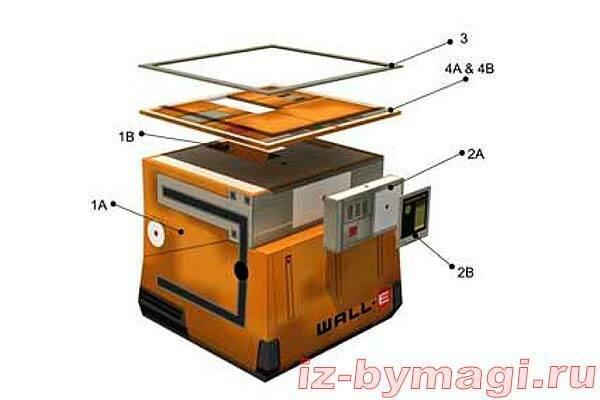 Робот Валли из бумаги - инструкция по склеиванию №1