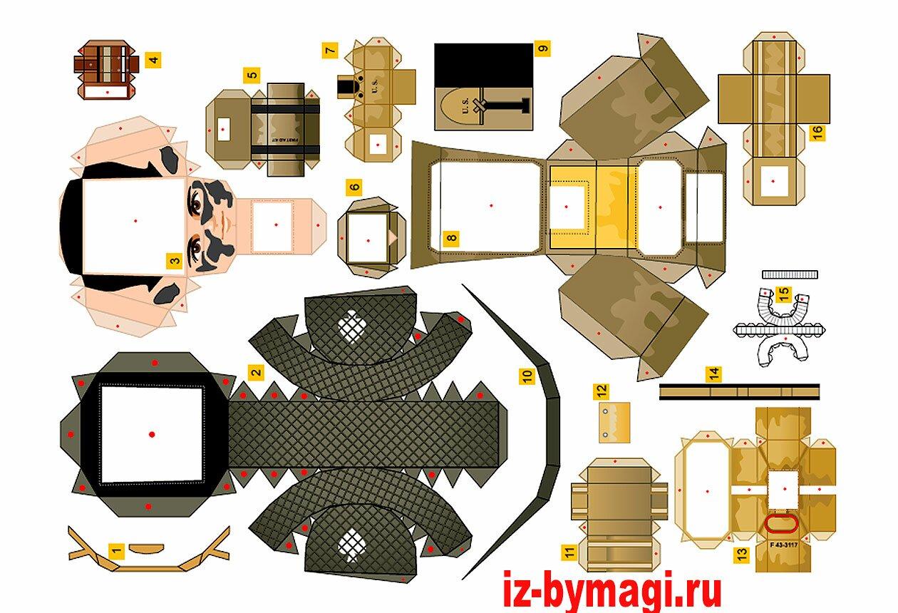 Схемы деталей модели десантника из бумаги №1