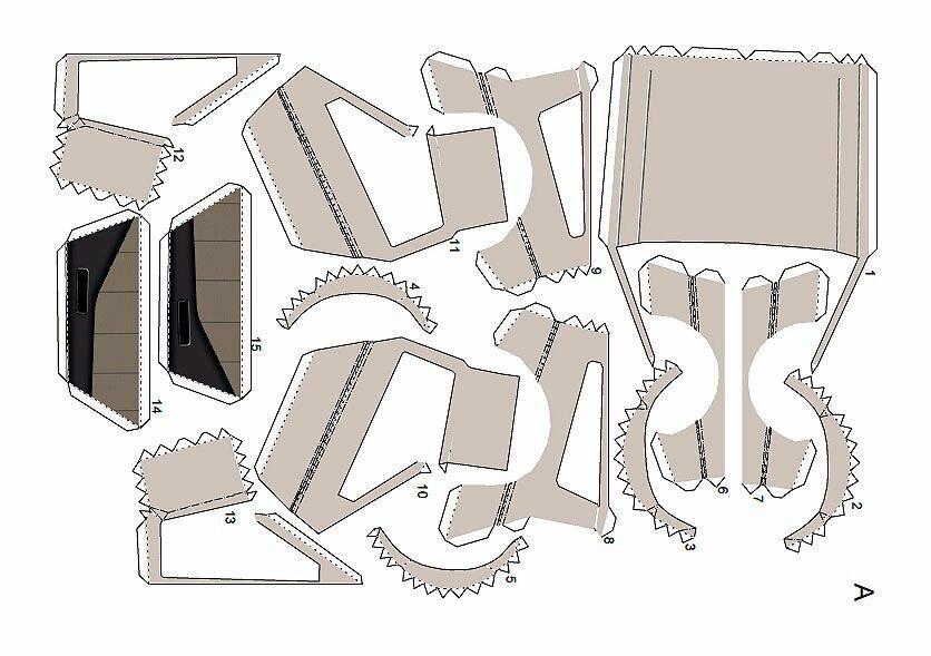 Схемы деталей Делориан из бумаги № 1