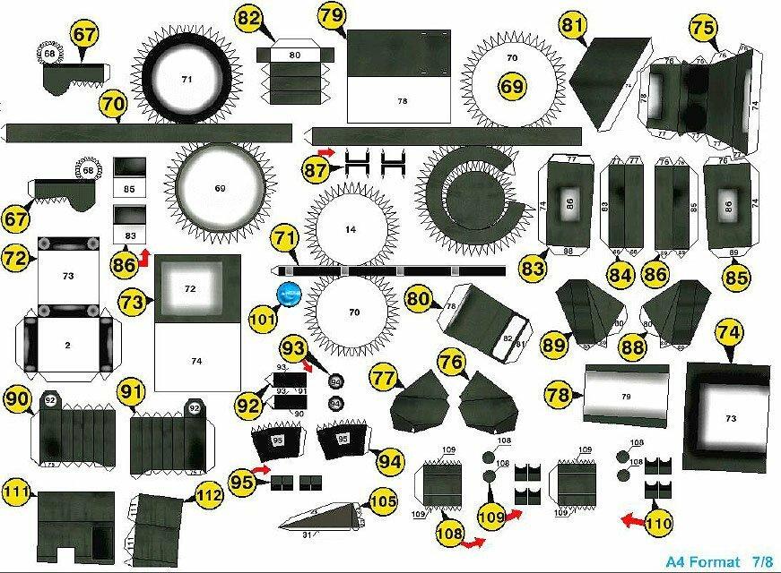 Схема деталей броневика из бумаги №7