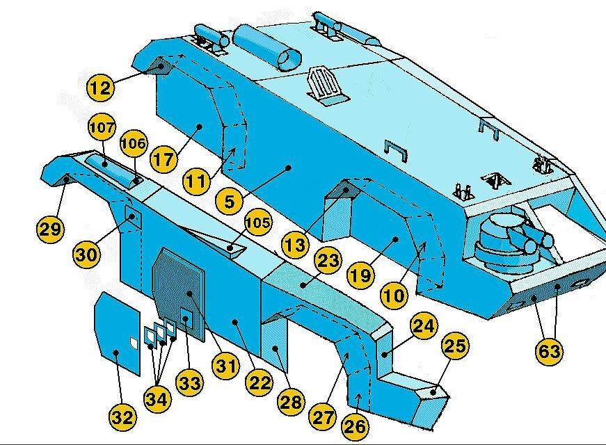 Инструкция по склеиванию броневика из бумаги №2