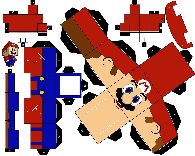 Схемы для склеивания братьтя Марио из бумаги №1
