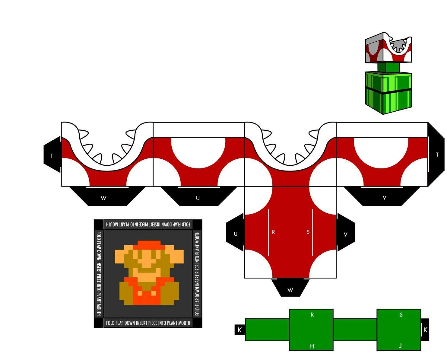 Схема для склеивания хищного гриба братьев Марио из бумаги №10