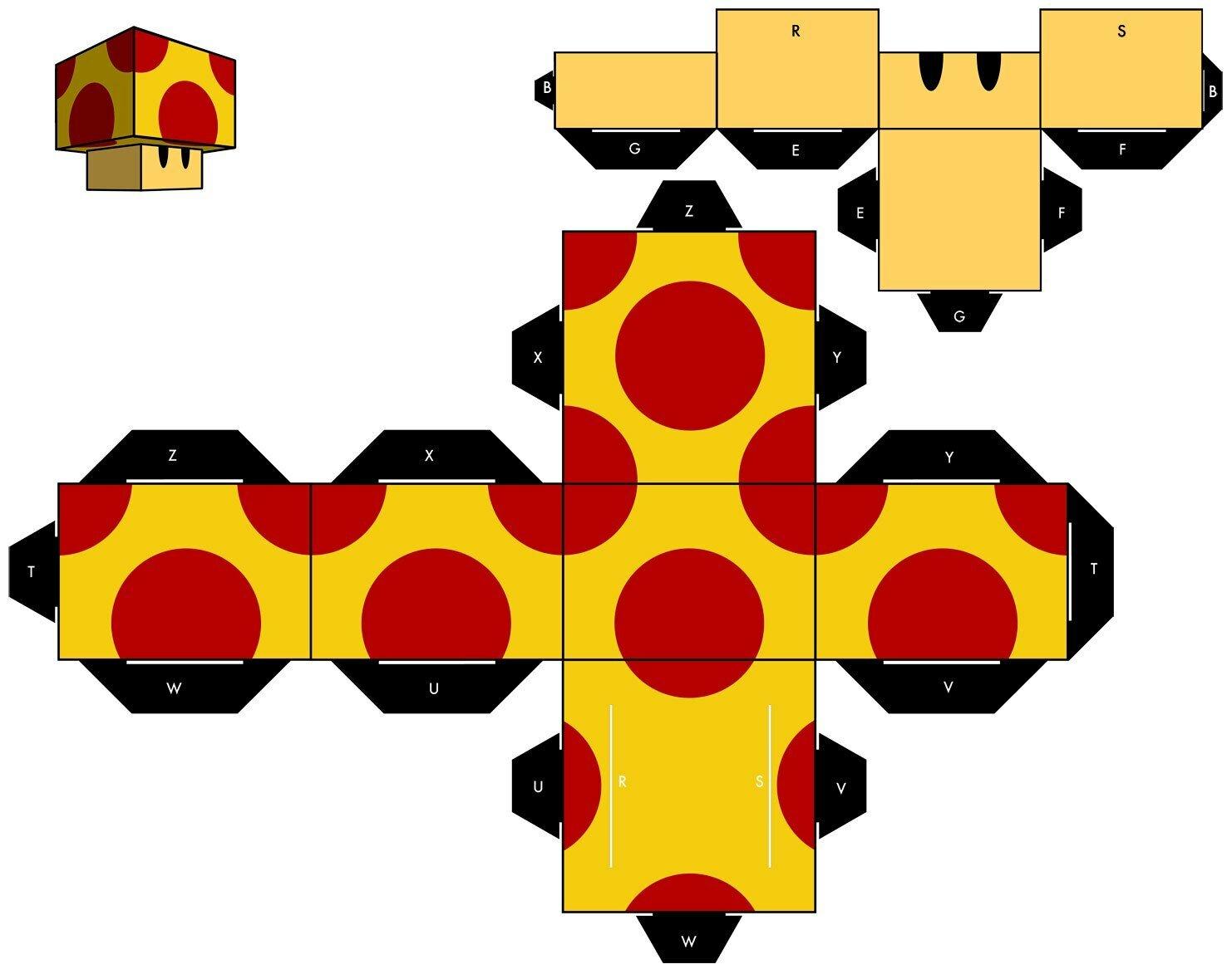 Схема для склеивания гриба для братьев Марио из бумаги №8