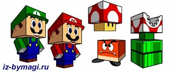 Братья Марио из бумаги