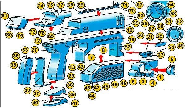 Инструкция по склеиванию пистолета судьи Дредда из бумаги №2
