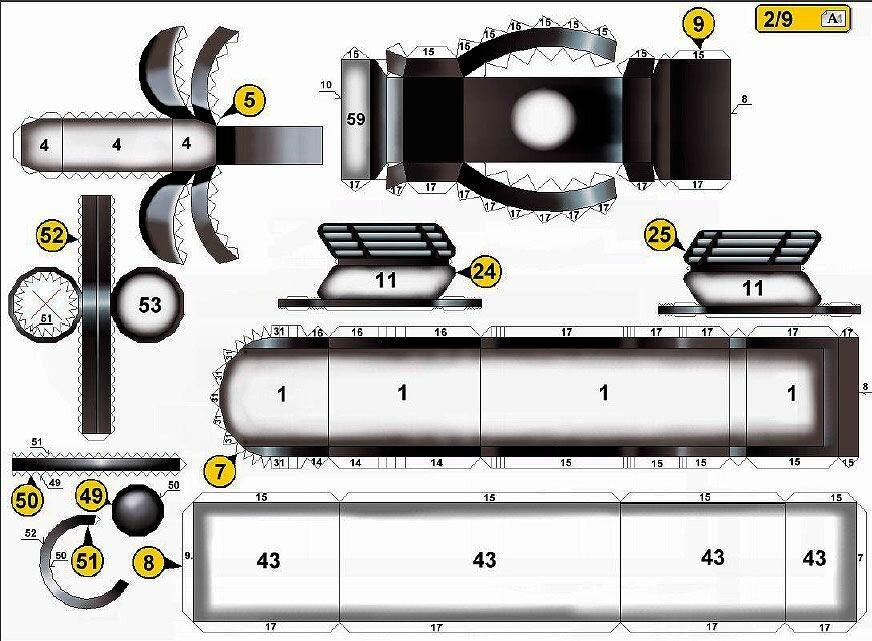 Развертки для склеивания пистолета судьи Дредда из бумаги №2 (gun made of paper schemes for bonding)