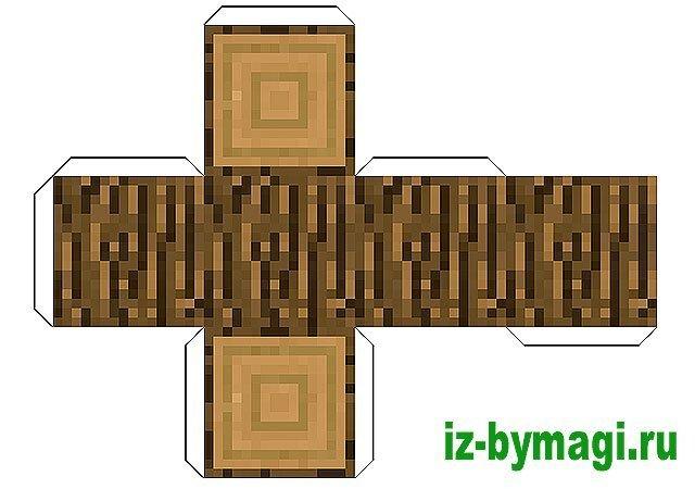 маинкрафт из бумаги - Блок дерево - пенек (minecraft from paper)