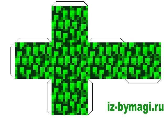 Minecraft из бумаги - Блок листва (minecraft from paper)
